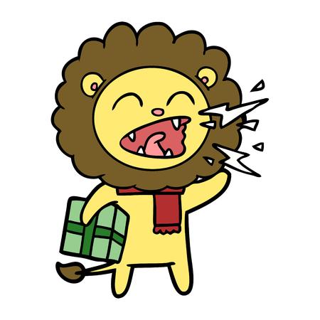 Lion rugissant de dessin animé avec présent Banque d'images - 94973026