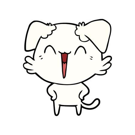 행복한 작은 개 만화 일러스트