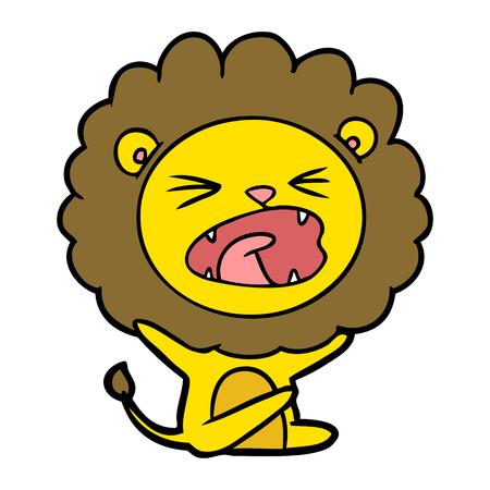 Leão dos desenhos animados, jogando birra Ilustración de vector