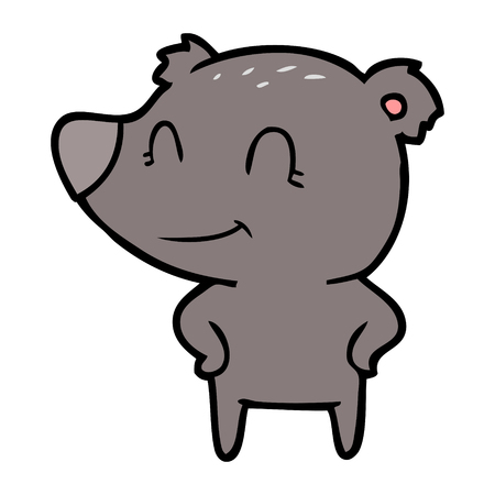 friendly bear with hands on hips