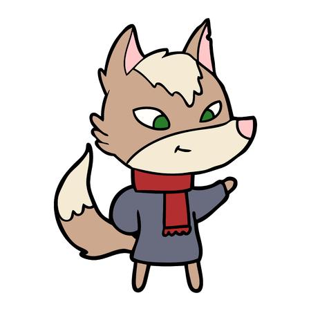 friendly cartoon wolf Vector illustration.