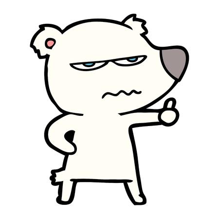 angry bear polar cartoon giving thumbs up Ilustrace