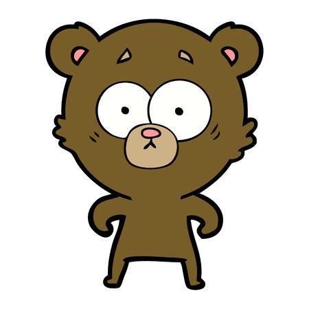 驚いたクマ漫画ベクトルイラスト。