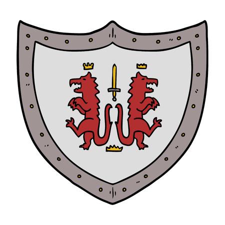 Cartoon heraldisch schild Stock Illustratie