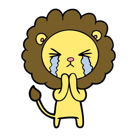 Cartoon weinen Löwe beten Standard-Bild - 94911489