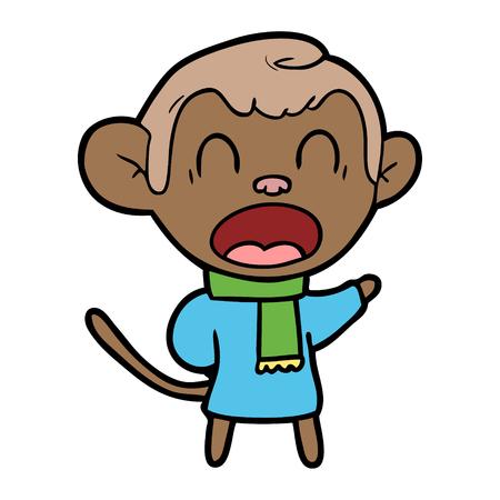 Shouting cartoon monkey wearing scarf