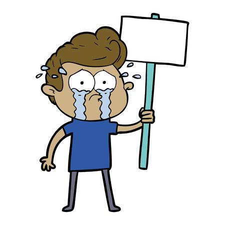 Cartoon crying protester Stock Vector - 94913772