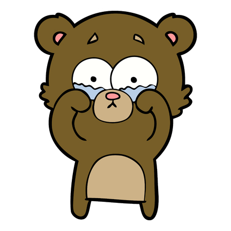 Cartoon crying bear rubbing eyes Çizim