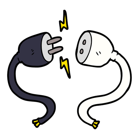 Cartoon plug and socket Ilustracja