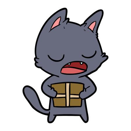 Pratende kat cartoon Stock Illustratie