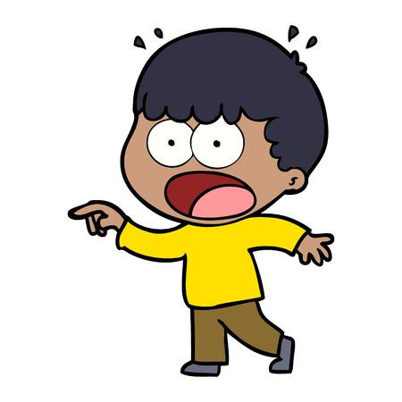 Cartoon homme choqué pointant