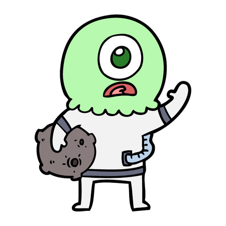 cartoon cyclops alien spaceman waving
