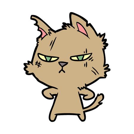 거친 만화 고양이 일러스트