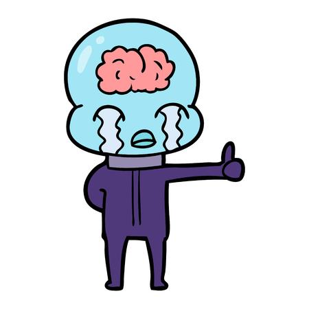cartoon big brain alien crying but giving thumbs up symbol