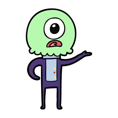 만화 외눈 박이 외계인 우주인 설명 일러스트