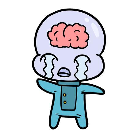 漫画大きな脳エイリアン泣く  イラスト・ベクター素材