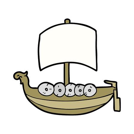 cartoon viking boat