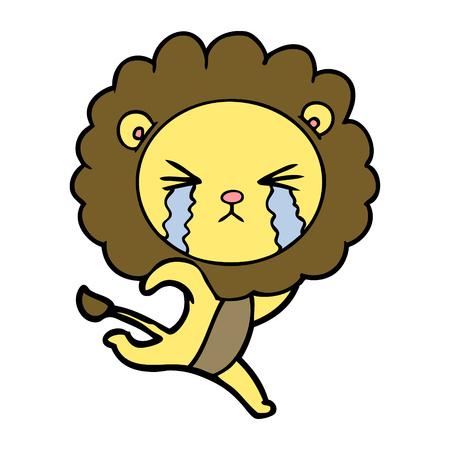 cartoon crying lion running away