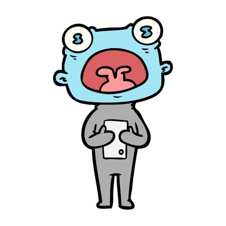 Estrangeiro estranho dos desenhos animados que comunica-se Foto de archivo - 94911348