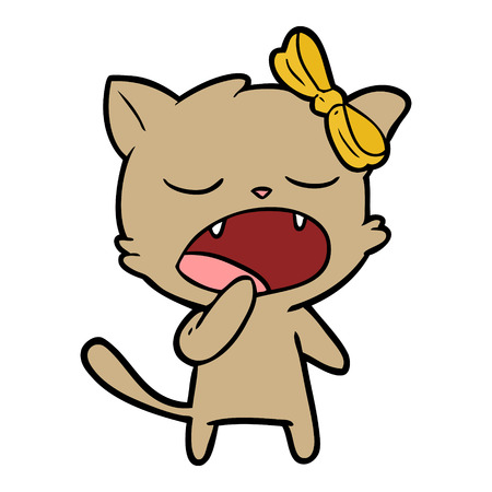 cartoon yawning cat vector illustration