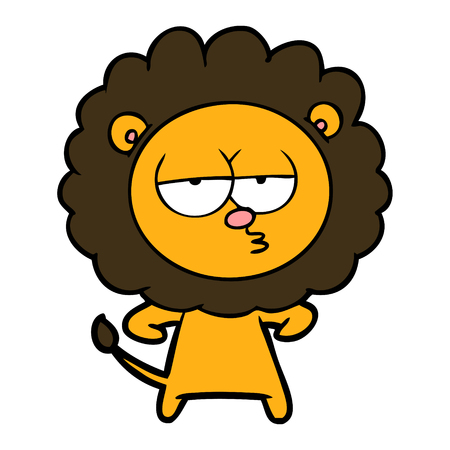cartoon bored lion