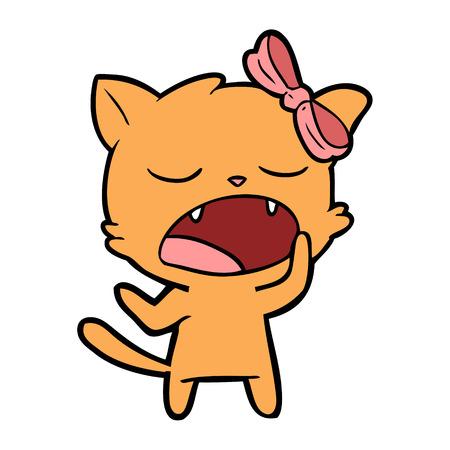 Cartoon yawning feline