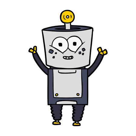 Happy cartoon robot waving Stock Vector - 94911822