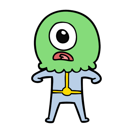 cartoon cyclops alien spaceman Иллюстрация