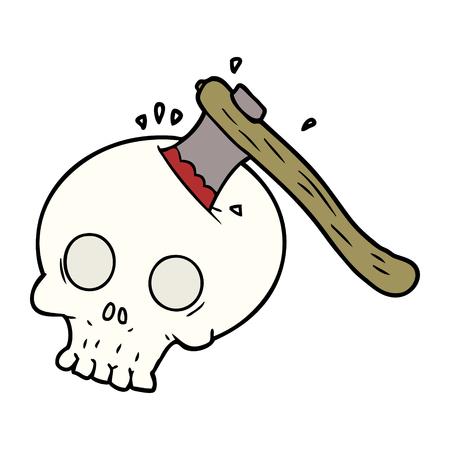 cartoon axe in skull