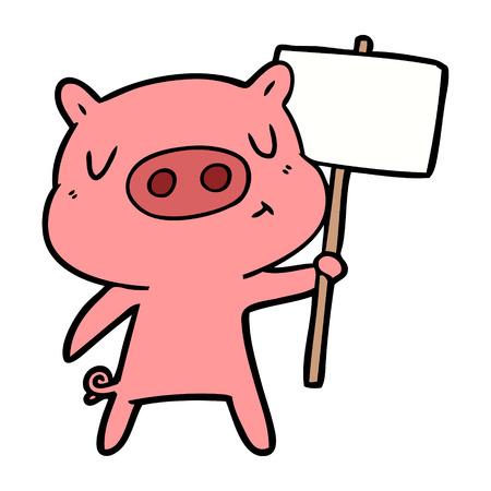cartoon content pig signpost;sign Ilustração