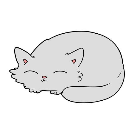 cartoon kat slaapt Stock Illustratie