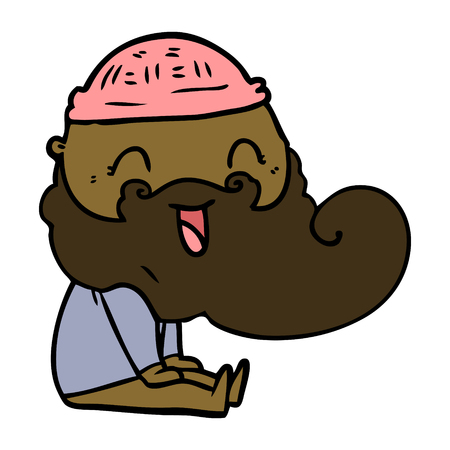 happy bearded man sat down laughing Illustration