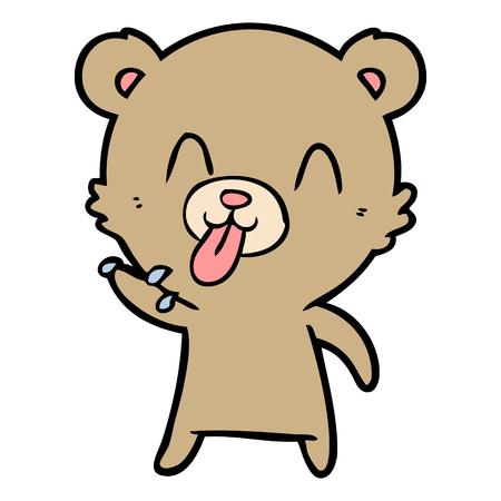 rude cartoon bear Çizim