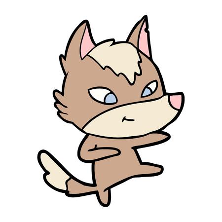 Vriendelijke cartoon wolf dansen Stock Illustratie