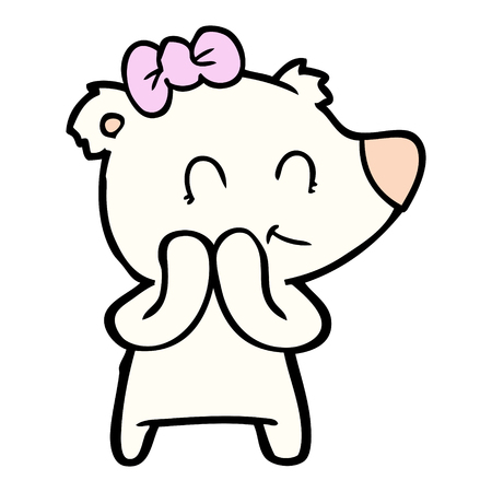 shy female polar bear cartoon Illustration