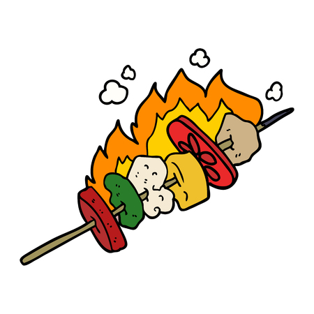 cartoon kebab sticks Illustration