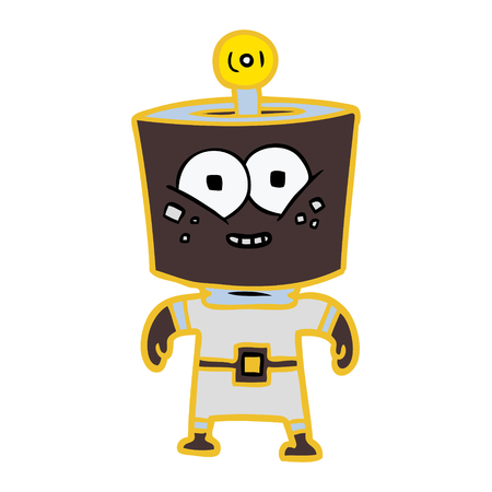 Happy energized cartoon robot