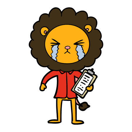 cartoon crying lion with clipboard