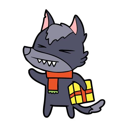 angry christmas wolf cartoon Stock Vector - 94915639