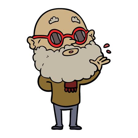 cartoon curious man with beard and sunglasses