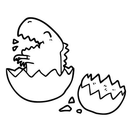 Line drawing of a dinosaur hatching from egg Illustration