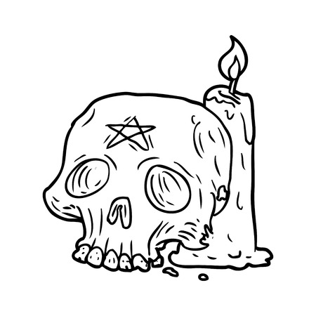 Line drawing of a spooky skull and candle 向量圖像