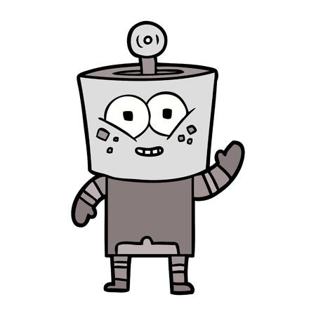 Happy cartoon robot waving hello vector