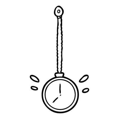 Line drawing of a swinging gold hypnotist watch