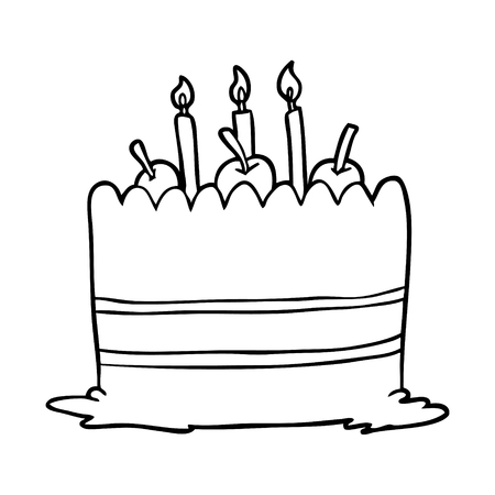 Line drawing of a birthday cake