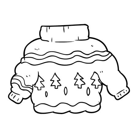 Disegno a tratteggio di un imbarazzante maglione natalizio Archivio Fotografico - 95046176