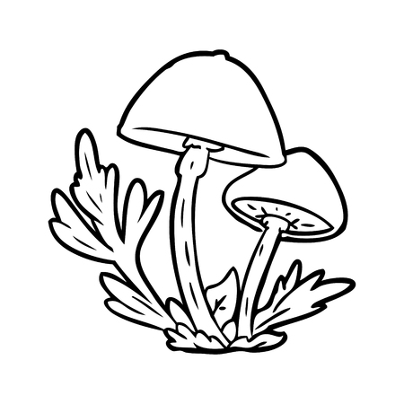 Line drawing of a wild mushrooms vector