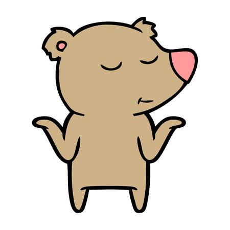 happy cartoon bear shrugging shoulders