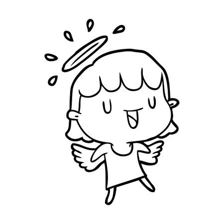 天使ベクトルのかわいい線画  イラスト・ベクター素材