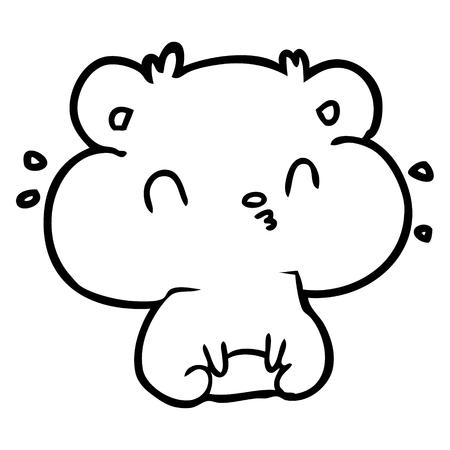 dessin de ligne d & # 39 ; un hamster avec trois patins à champagne vecteur